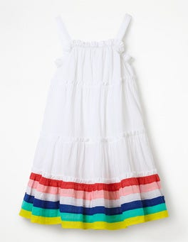 Weiß/Regenbogen, Gestreift Schwingendes Webkleid