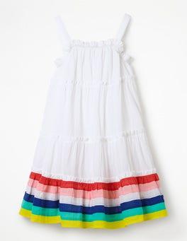 White/Rainbow Stripes Twirly Woven Dress