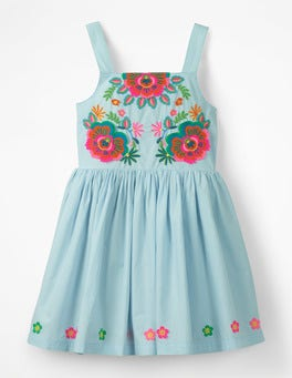 Ocean Spray Blue Fun Applique Woven Dress