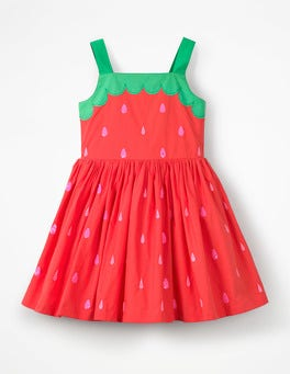 Strawberry Tart Red Fun Applique Woven Dress