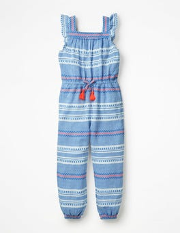 Blau, PunktestreifenWeb-Jumpsuit mit Rüschen