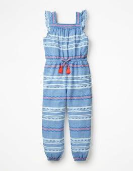 Blue Dobby Stripe Frill Sleeve Woven Jumpsuit