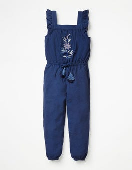 Navy Embroidery Frill Sleeve Woven Jumpsuit