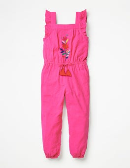Festival Pink Frill Sleeve Woven Jumpsuit