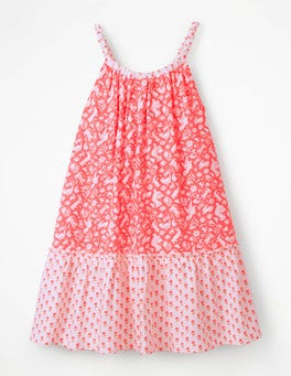 Flamingo Pink Folk Friends Strappy Hotchpotch Dress