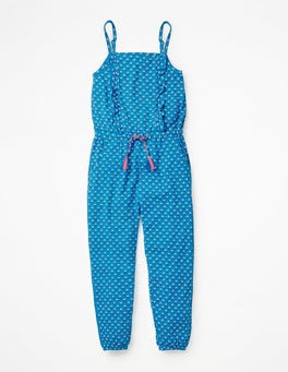 Atomic Blue Bud Frill Jersey Jumpsuit