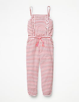 White/Strawberry Tart Red Frill Jersey Jumpsuit