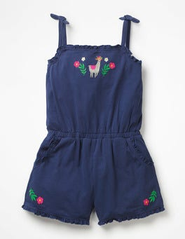 Starboard Blue/Llama Embroidered Jersey Playsuit