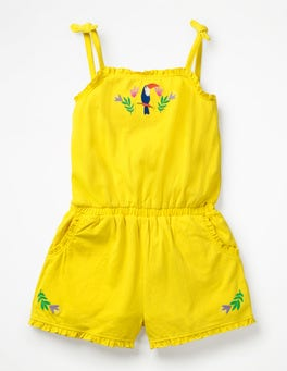 Sunshine Yellow/Toucan Embroidered Jersey Romper