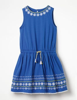 Duke Blue Embroidered Tie-waist Dress