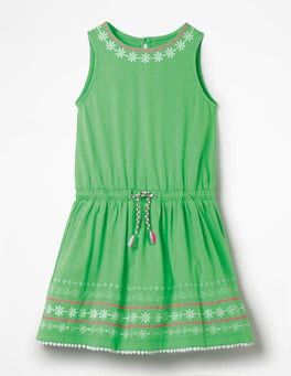 Parrot Green Embroidered Tie-waist Dress