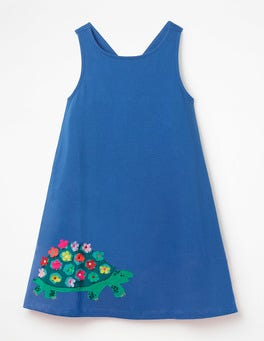 Duke Blue Tortoise Cross-back Appliqué Dress