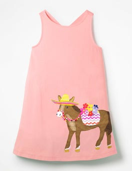 Shell Pink Donkey Cross-back Appliqué Dress