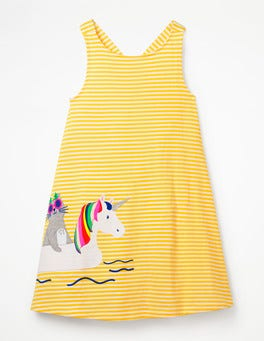 White/Sunshine Yellow Cat Cross-back Appliqué Dress