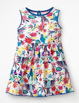Multi Carnival Birds Pocket Detail Jersey Dress