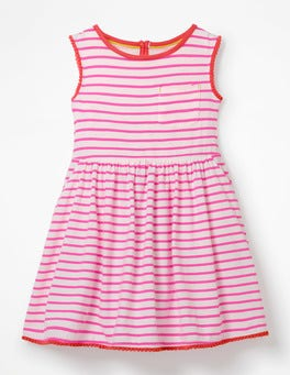 White/Festival Pink Stripe Pocket Detail Jersey Dress