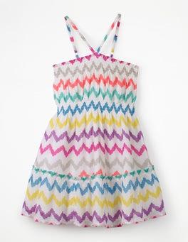 Rainbow Chevron Strappy Smocked Midi Dress