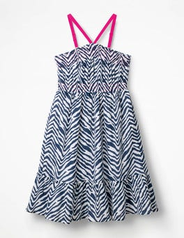 College Blue Zebra Strappy Smocked Midi Dress
