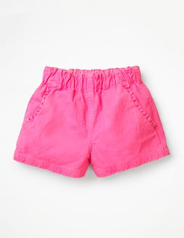 Festival Pink Ruffle Pocket Twill Shorts