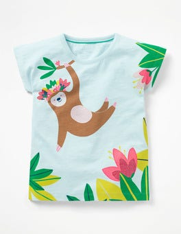 Pale Blue Sloth Sparkly Animal T-shirt