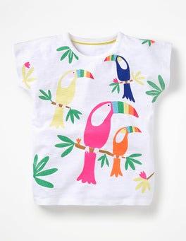 Weiß, Tukane Glitzerndes T-Shirt mit Tiermotiv