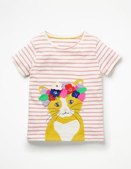 White/Shell Pink Cat Flower Crown Appliqué T-shirt
