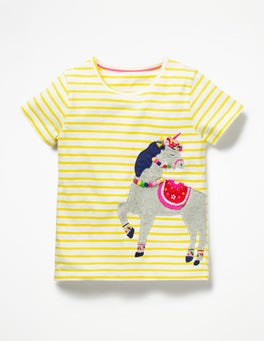 White/Sunshine Yellow Unicorn Flower Crown Appliqué T-shirt