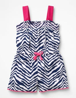 College Blue Zebra Zebra Print Playsuit