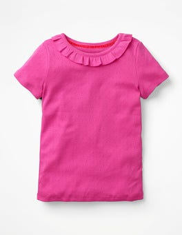 Ruffle Neck Pointelle T-shirt