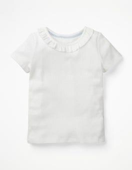White Ruffle Neck Pointelle T-shirt