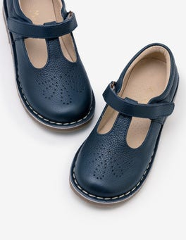 Navy Leather T-Bar Flats