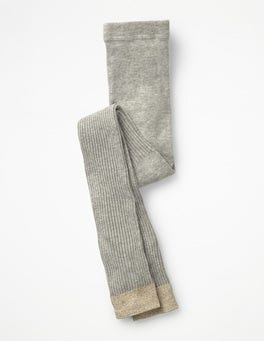 Grey Marl Ribbed Footless Tights