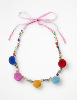 Ecru Jolly Floral Fabric Necklace