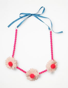 Festival Pink Fabric Necklace