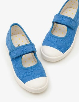Elizabethan Blue Canvas Mary Janes