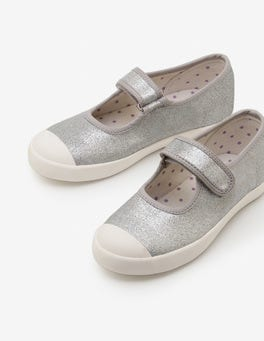 Silver Metallic Canvas Mary Janes