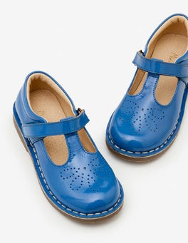 Elizabethan Blue Leather T-bar Flats