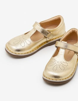 Gold Metallic Leather T-bar Flats