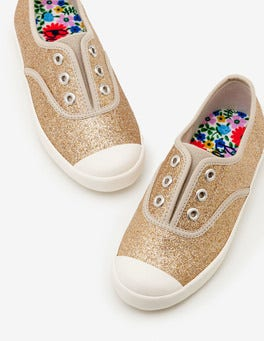 Gold Glitter Laceless Canvas Sneakers