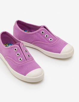 Lilac Pink Laceless Canvas Sneakers