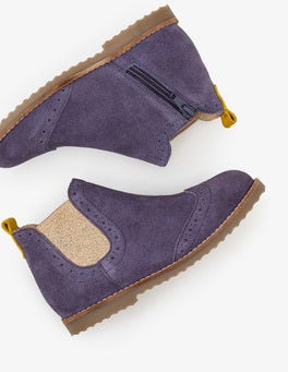 Violet Grey Leather Chelsea Boots