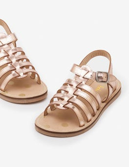 Rose Gold Metallic Leather Gladiator Sandals