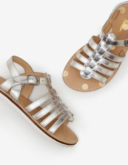 Silver Metallic Leather Gladiator Sandals