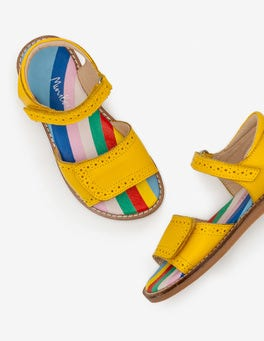 Sunshine Yellow Leather Padded Sandals