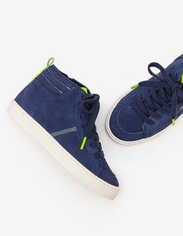 Navy Blue Suede High Top Sneakers