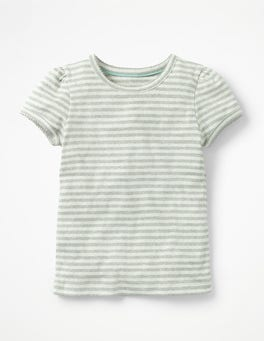 Ecru/Grey Marl Short-sleeved Pointelle Top