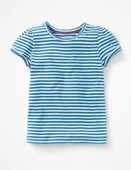 Skipper Blue/Ecru Short-sleeved Pointelle Top