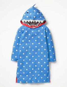 Penzance Blue/Ivory Spot Shark Appliqué Towelling Beach Dress