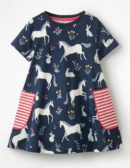 School Navy Unicorns Colourful Printed Tunic