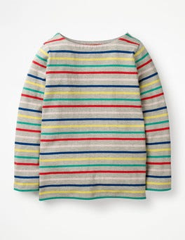Grey Marl Rainbow Breton T-shirt